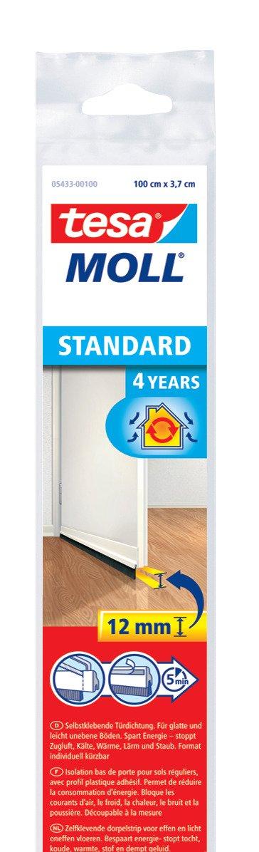 tesa UK Draught Excluder Door Brush for Standard Surfaces - White