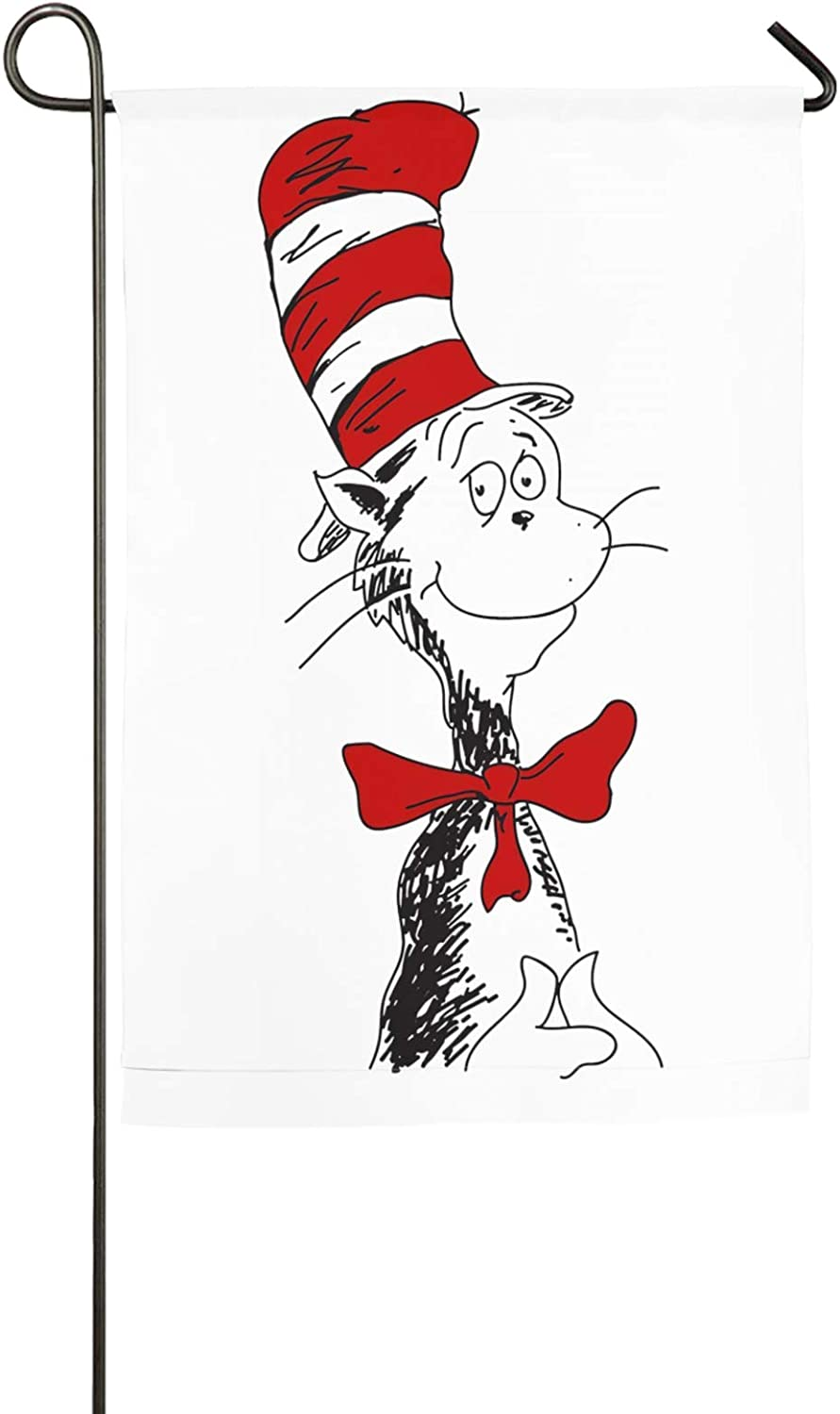 Dawiine The Cat in The Hat Dr. Seuss Garden Flag Double Stitched Vertical Flag for Garden Decorative,Yard Decorative,Outdoor Decorative,Holiday Decor,Anniversary Decoration 12 X 18 Inch