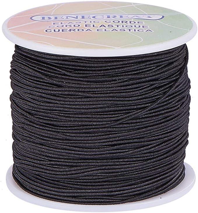 Imagen deBENECREAT 1 mm 100m Cordón Elástico Hilo de Nylon de Rebordear Tela Hilo para Cuentas Pelo y Manualidad(1 mm, Negro)