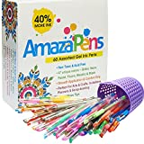 AmazaPens Gel Pens  60 Value Pack, 40% More Ink than Other Sets, Top Quality Coloring Pens for Adult Coloring Books, 47 Unique Colors, Best Gift - Includes Glitter, Neon, Pastel, Flouro & Metallic