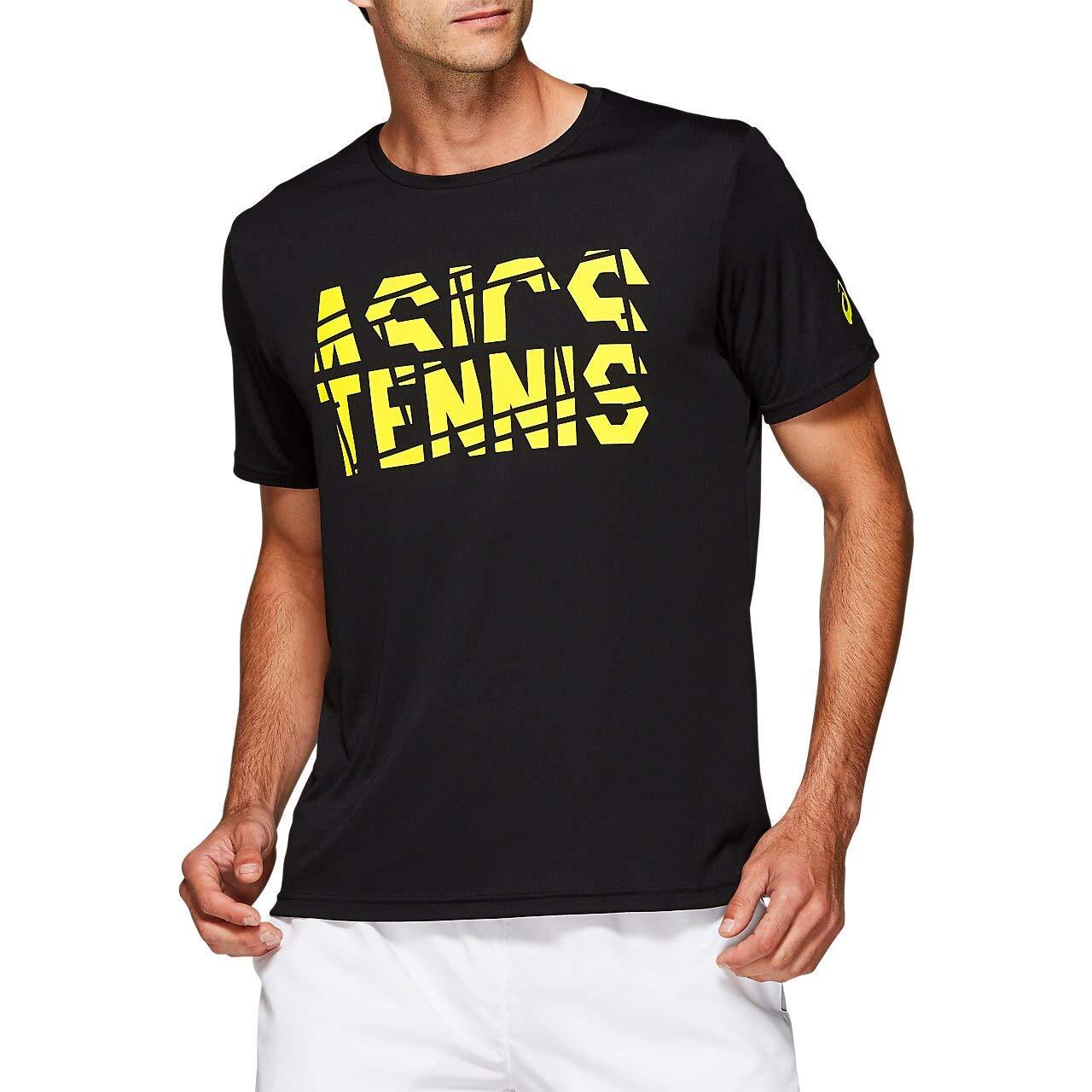 ASICS Men's Practice Short Sleeve Top, Performance Black/Sour Yuzu - Medium