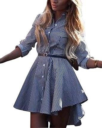 fb983bb8e643 ZhuiKun Femme Longue Chemise à Manches Longues Mini Chemise Robe Top   Amazon.fr  Vêtements et accessoires
