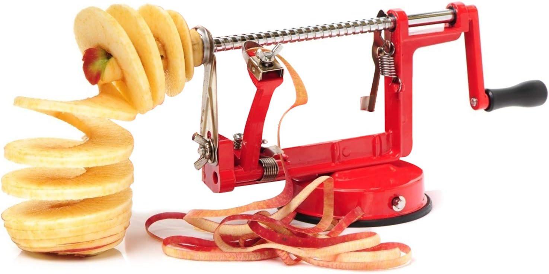 HOTIME Apple Peeler, 3 In 1 Apple Slicer Corer Potato Peeler Stainless Steel Blades Suction Base Heavy Duty Handheld Peeler Fruit/Vegetable Peeler Slicer Corer for Apple Pie Salad Kitchen Tools, Red