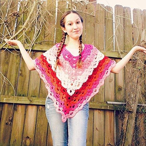 Crochet Pink Shades Gemstone Poncho
