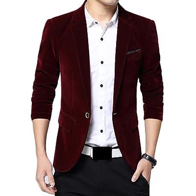 GRMO Mens One-button Slim Fit Velvet Suit Separate Coat Blazer Jackets