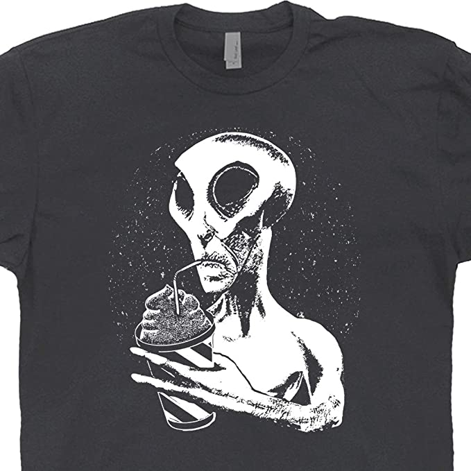0070748d S - Alien Drinking T Shirt Cool UFO Graphic Tee Funny Area 51 Bigfoot  Jackalope Cryptozoology