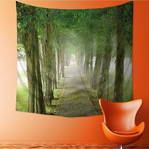 (AuraiseHome Tapestries Wall Hanging Footpath Through The Misty Promenade Bedroom Living Room Dorm Wall Hanging Tapestry70W x 70L Inch)