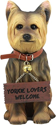 Ebros Gift Yorkie Dog Garden Statue 12.5 H Yorkshire Terrier Figurine with Jingle Collar and Sign Patio Welcome Decor Guest Greeter Realistic Animal Dogs Sculpture 2