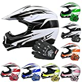 Leopard LEO-X16 Children Kids Off Road MX Motocross Helmet Crash Scooter Motorcycle Motorbike Helmet Black White XL with X-Large Gloves