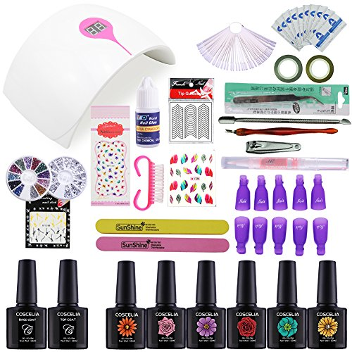 Coscelia 6pcs Gel Nail Polish Set with 24W White Sensor LED Nail Lamp Top and Base Coat Nail Art Manicure Tools For Sale