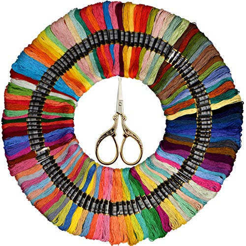 Embroidery Floss- Friendship Bracelets String - Cross Stitch Threads- Crafts Floss - Rainbow dmc Color Floss 110 Skeins and Free Set of Gold Sewing &Needlework Scissors Stainless (Best Dmc Embroidery Scissors)