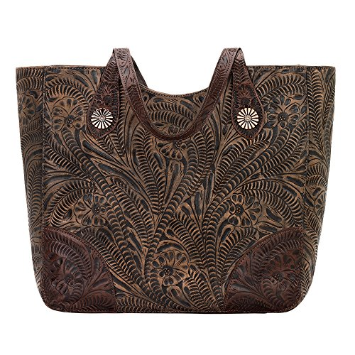 American West Annie's Secret Collection Large Zip Top Tote, Distressed Charcoal Brown/Chestnut (American Handbag West)