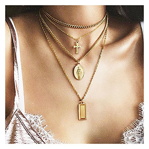 Wowanoo Women Girls Layered Necklace Multi-layer Cross Blessed Virgin Mary Pendant Necklace Chain for Lady