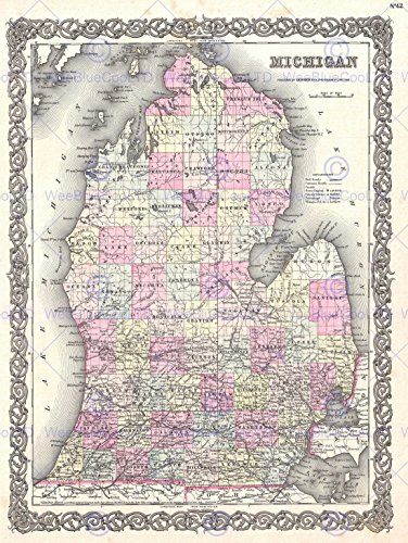 Michigan Wall Map - Wee Blue Coo Prints 1855 COLTON MAP MICHIGAN VINTAGE POSTER ART PRINT 12x16 inch 30x40cm