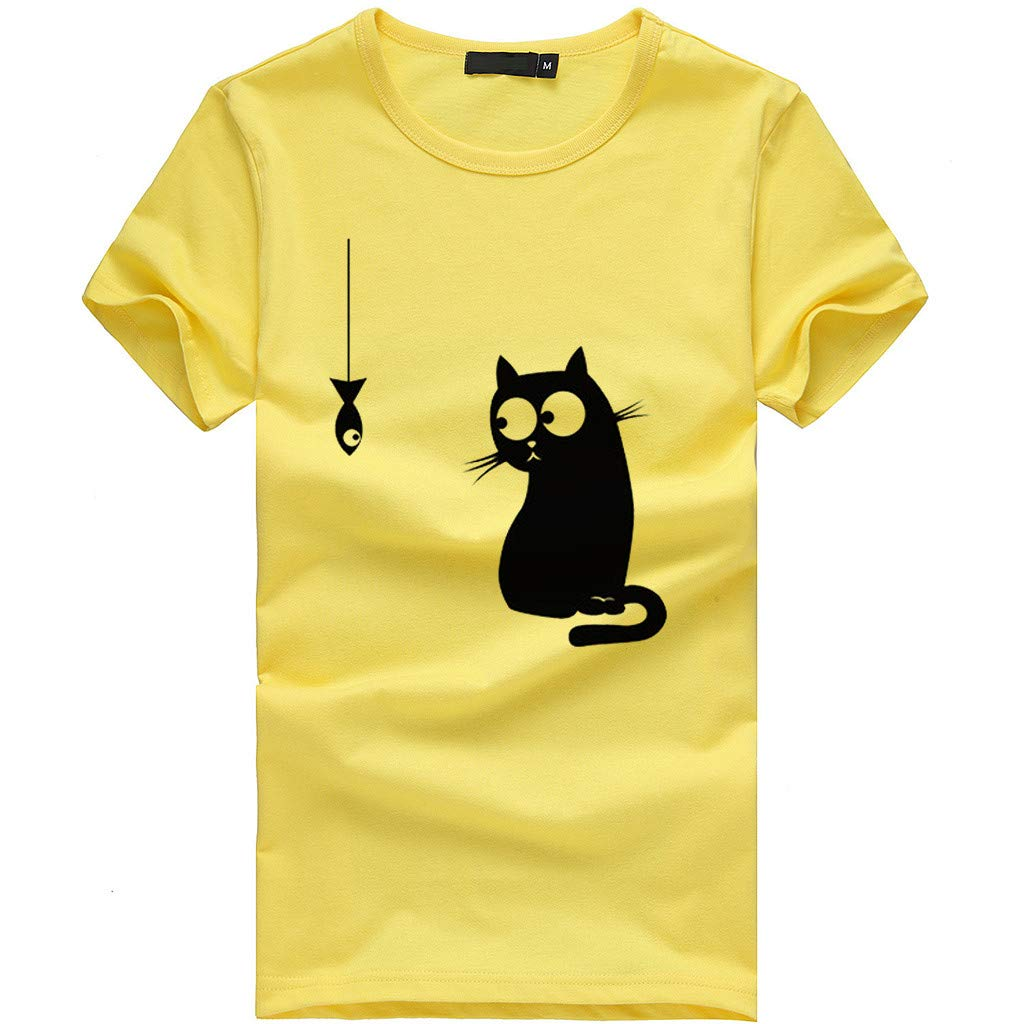 Short Sleeve Tee Blouse for Women,Amiley Womens Cute Cat Print Short Sleeve Blouse Tops Teen Girls O-Neck Casual T Shirts (X-Large, Yellow)