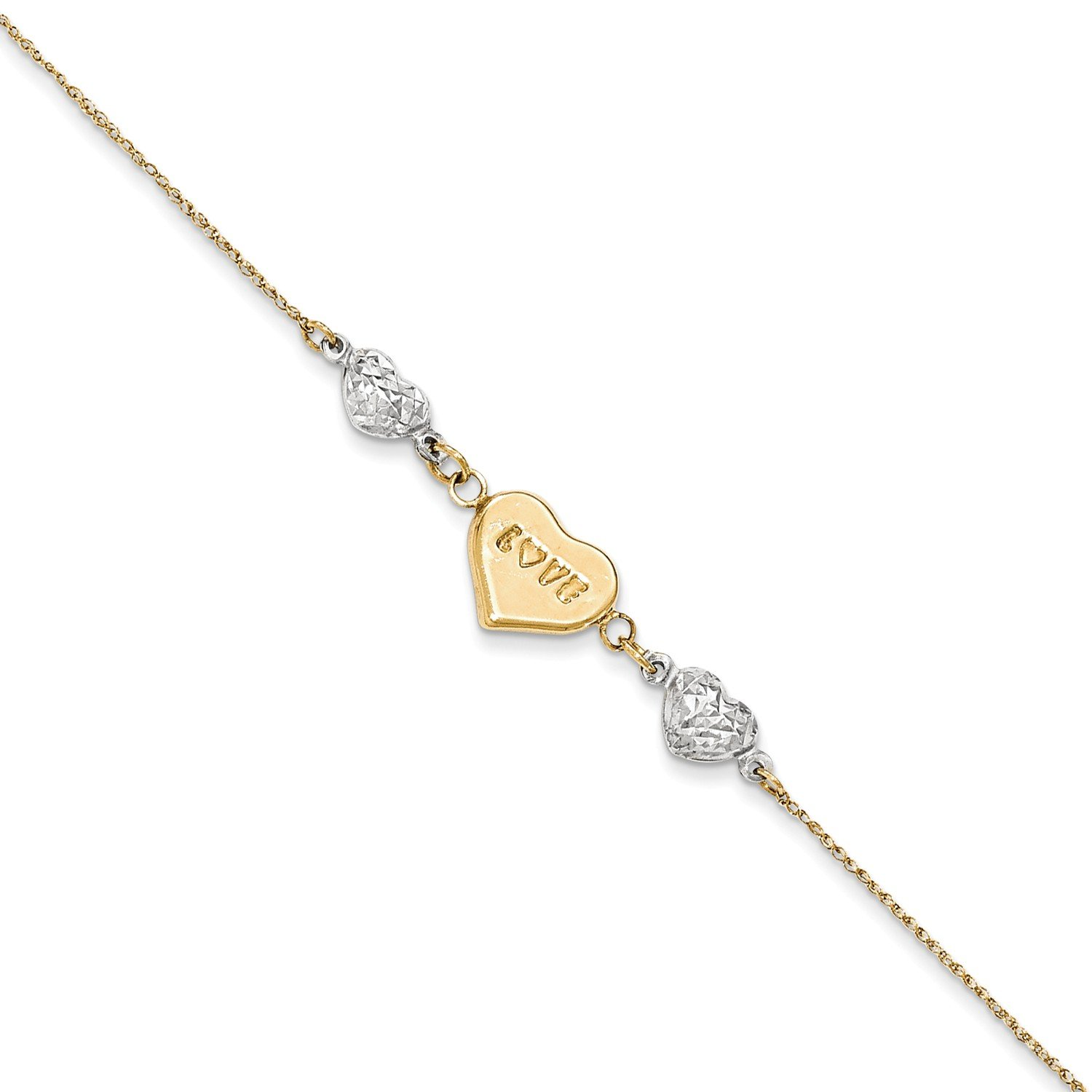 Roy Rose Jewelry 14K Yellow Gold Two Tone Puffed LOVE Heart & Diamond-cut Hearts Bracelet ~ Length 7'' inches