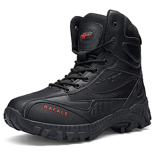Hunzed Men High Top Wear Resistant Shoes Men Military Boot Tactical Desert  Combat Army 5f5d1db74b29