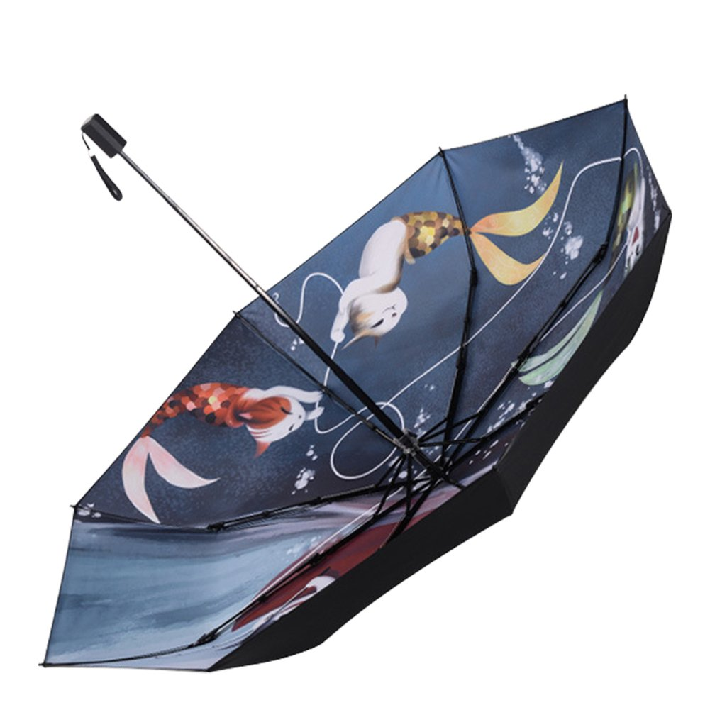 8952600a2df7 QCHOMEE Windproof Travel Umbrellas Tri-fold Umbrella Cat and Fish ...