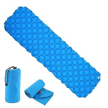 Enjoygoeu Azul Colchón Inflable Hinchable Cama de Gas Automático Aislante Portátil Ligero Resistente al Agua Impermeable