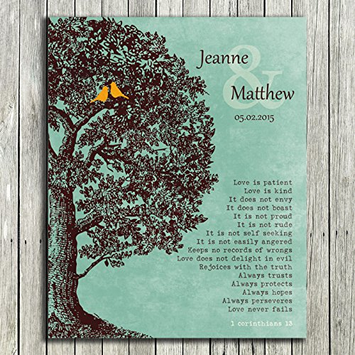 Initial Plaque (8x10 Unframed Print Personalized Gift Family Tree Anniversary Plaque 1 Corinthians 13 Carved Initials Love Is Patient Oak Tree Green Background Custom Wedding Art)