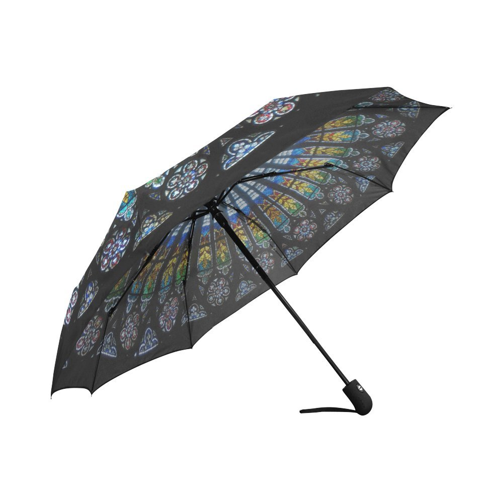 Amazon.com: Design With The Rose Window In The Gothic Cathedral Pattern Windproof Rainproof Automatic Foldable Umbrella,Travel Umbrella Compact Sun/Rain ...