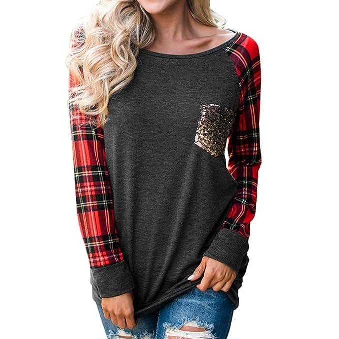 Tefamore Blusa de mujer Camiseta O-cuello mujer con hombros descubiertos Camiseta de manga larga para con suelta Tops t shirt: Amazon.es: Ropa y accesorios
