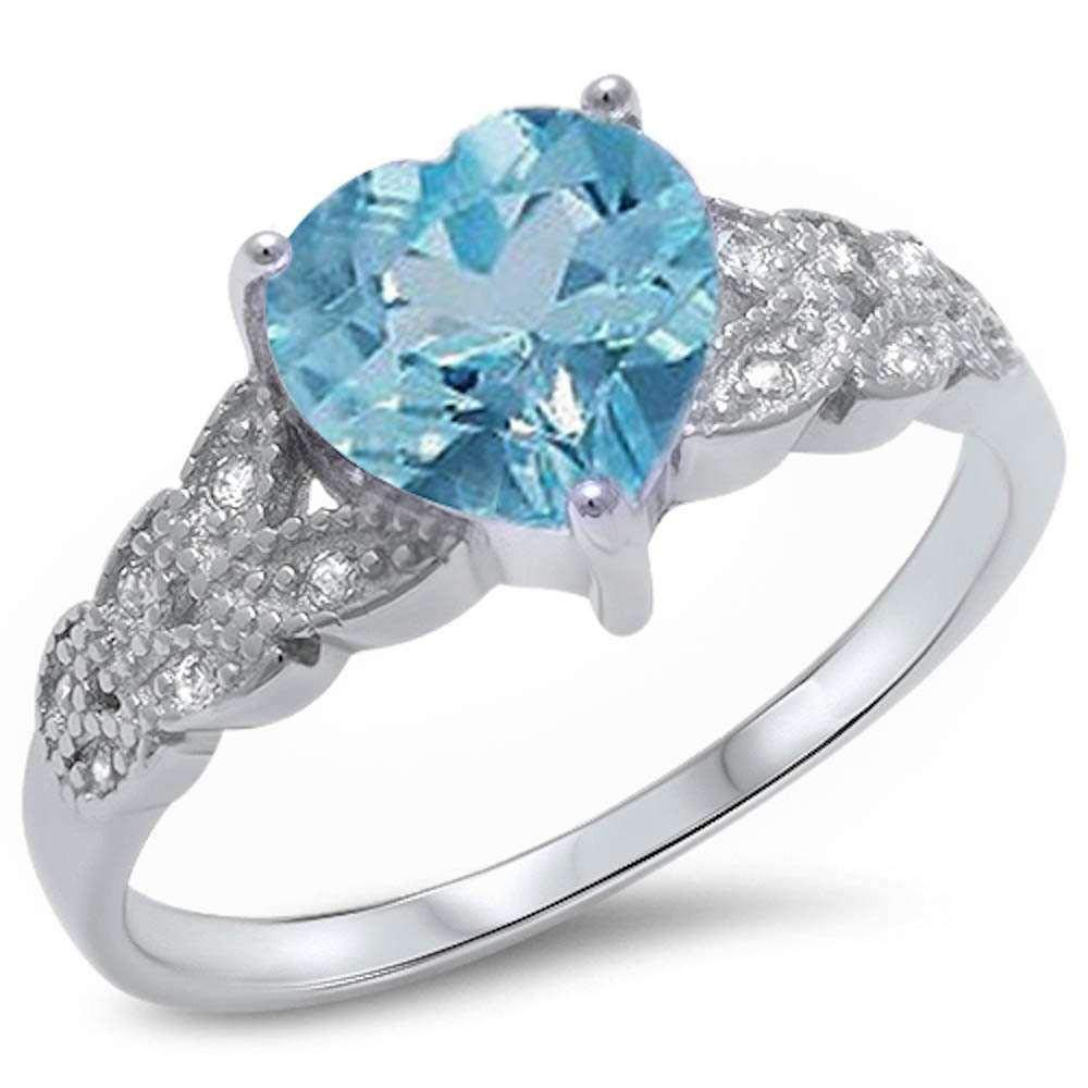 Princess Kylie Synthetic Aquamarine and Clear Cubic Zirconia Heart Ring Sterling Silver Size 7