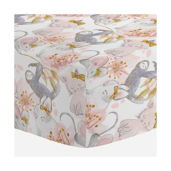 Carousel Designs Pink And Gray Sloth Crib Sheet - Organic 100% Cotton Fitted Crib Sheet - Made In The Usa -
