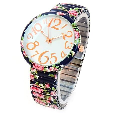 FTW Reloj de Pulsera para Mujer con diseño de Rosas Azules Marinas ...
