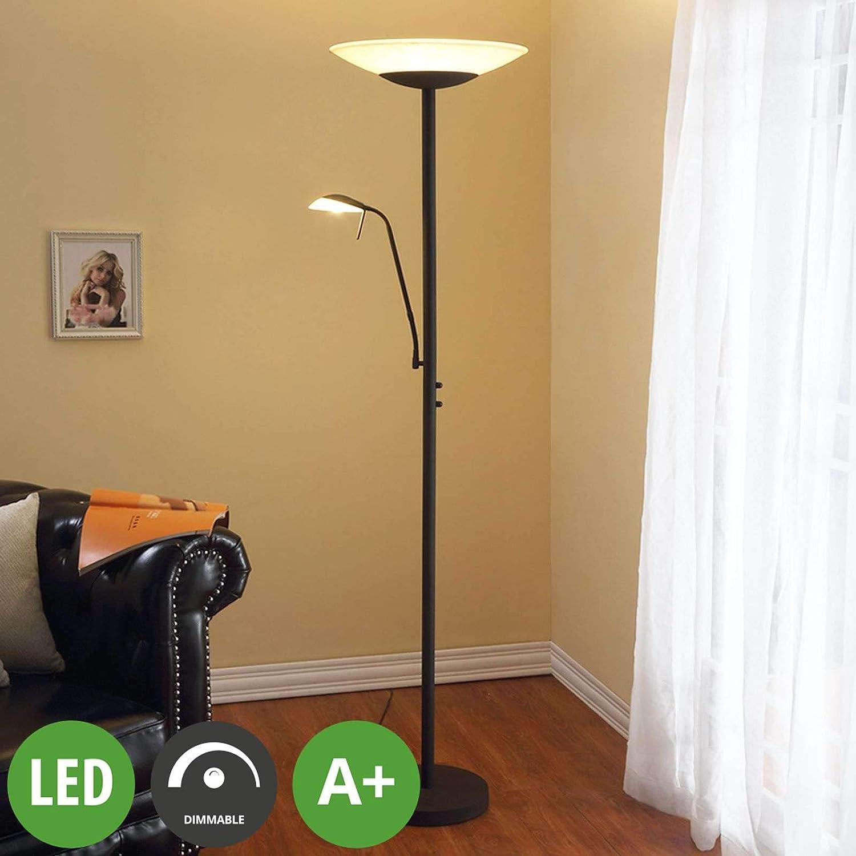 Lampenwelt Led Stehlampe Ragna Dimmbar Landhaus Vintage Rustikal In Braun Aus Glas Ua Für Wohnzimmer Esszimmer 2 Flammig A Inkl