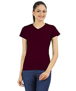 Ap'pulse Women's Cotton V Neck T Shirt (Maroon, Medium)