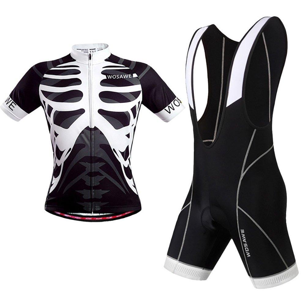 KIKIYA Herren Pro Radtrikot Half Sleeve Bike Team Racing Top + 3D Gel PaddedBib Shorts Set