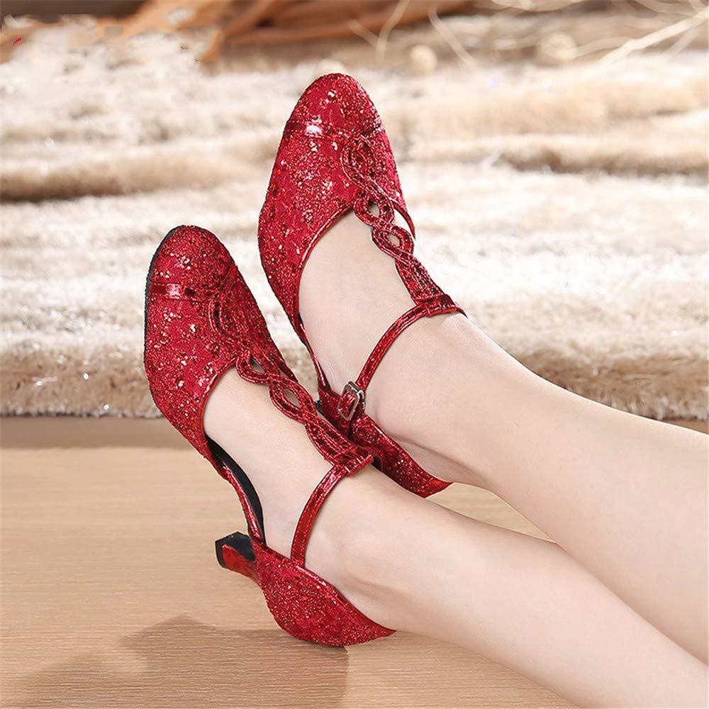 HCCY Rote Pailletten weiche untere Latin Dance Schuhe Damen Damen Damen Damen Persönlichkeit Tanzschuhe 65c6e8
