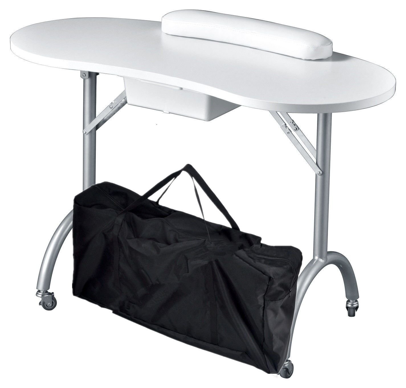Portable White Manicure Table With Carrying Bag GreenLife