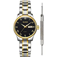 OLEVS Classic Watches for Women Analog Quartz Watch Stainless Steel Rugged Waterproof Watches Roman Numeral Unique Calendar Date Business Wrist Watch