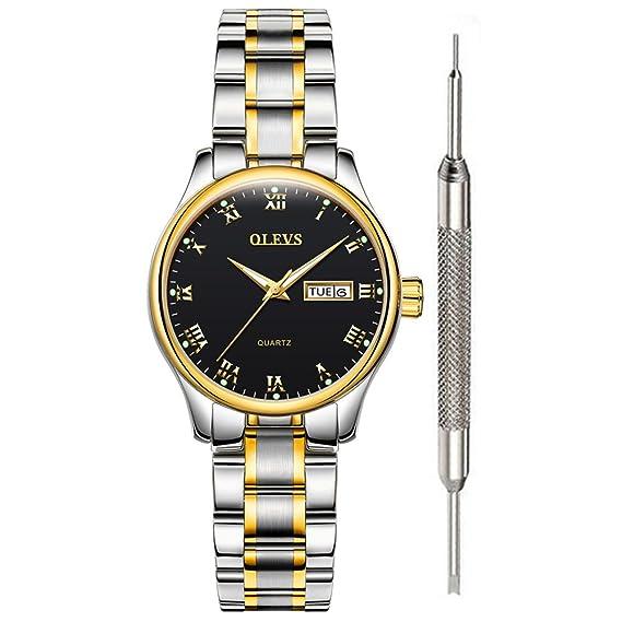 Amazon.com: OLEVS - Reloj de cuarzo para hombre y mujer con ...