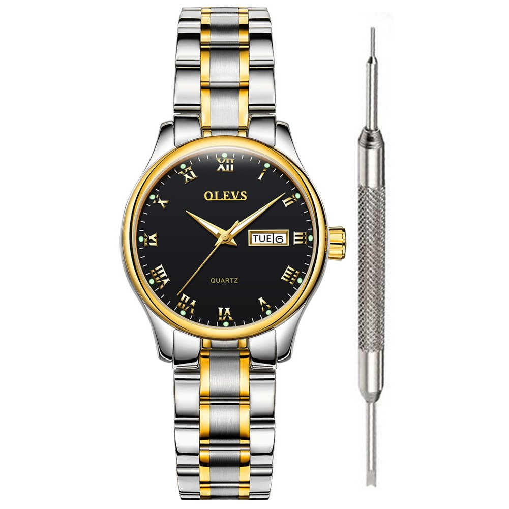 Women Watches Ladies Quartz Watch for Women Waterproof Stainless Steel Fine Wrist Watch Classic Roman Numeral Luminous Watches with Date Week Lovers Classic Women Clock with Free Battery Tools OLEVS
