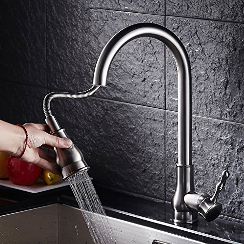 Pull-type faucet Modern swivel faucet Pull-style [stretch] Bronze Hot and cold Kitchen faucet-D by ECKGKFIDSK