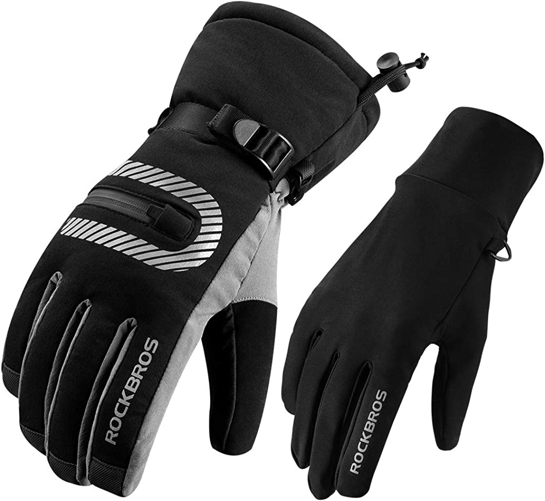 ROCKBROS Ski Gloves Men Winter Gloves Waterproof Snowboard Gloves for Cold Weather Skiing Snowboarding Cycling