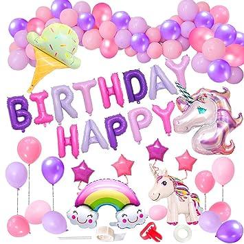 MMTX Decoracion Cumpleaños Unicornio de Fiesta para Niñas Globos de Cumpleaños Enormes 3D Globos de Unicornio Cumpleaños Estandarte, Globos de Látex, ...