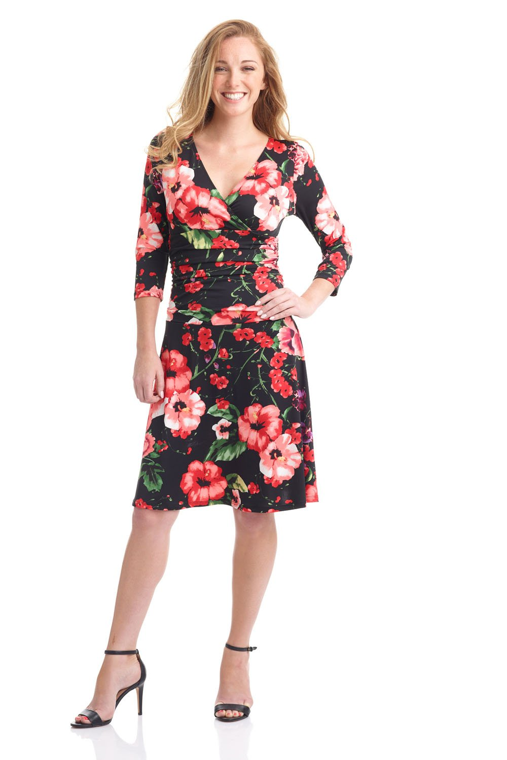 Rekucci Women's Slimming 3/4 Sleeve Fit-and-Flare Crossover Tummy Control Dress (14,Night Garden)
