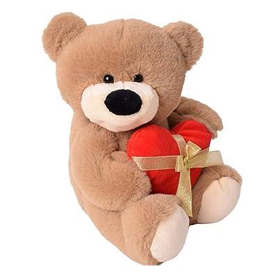 te-trend Felpa osito oso con ROJA corazón y lazo Sentado 33cm Peluche Osito de peluche marrón: Juguetes y juegos