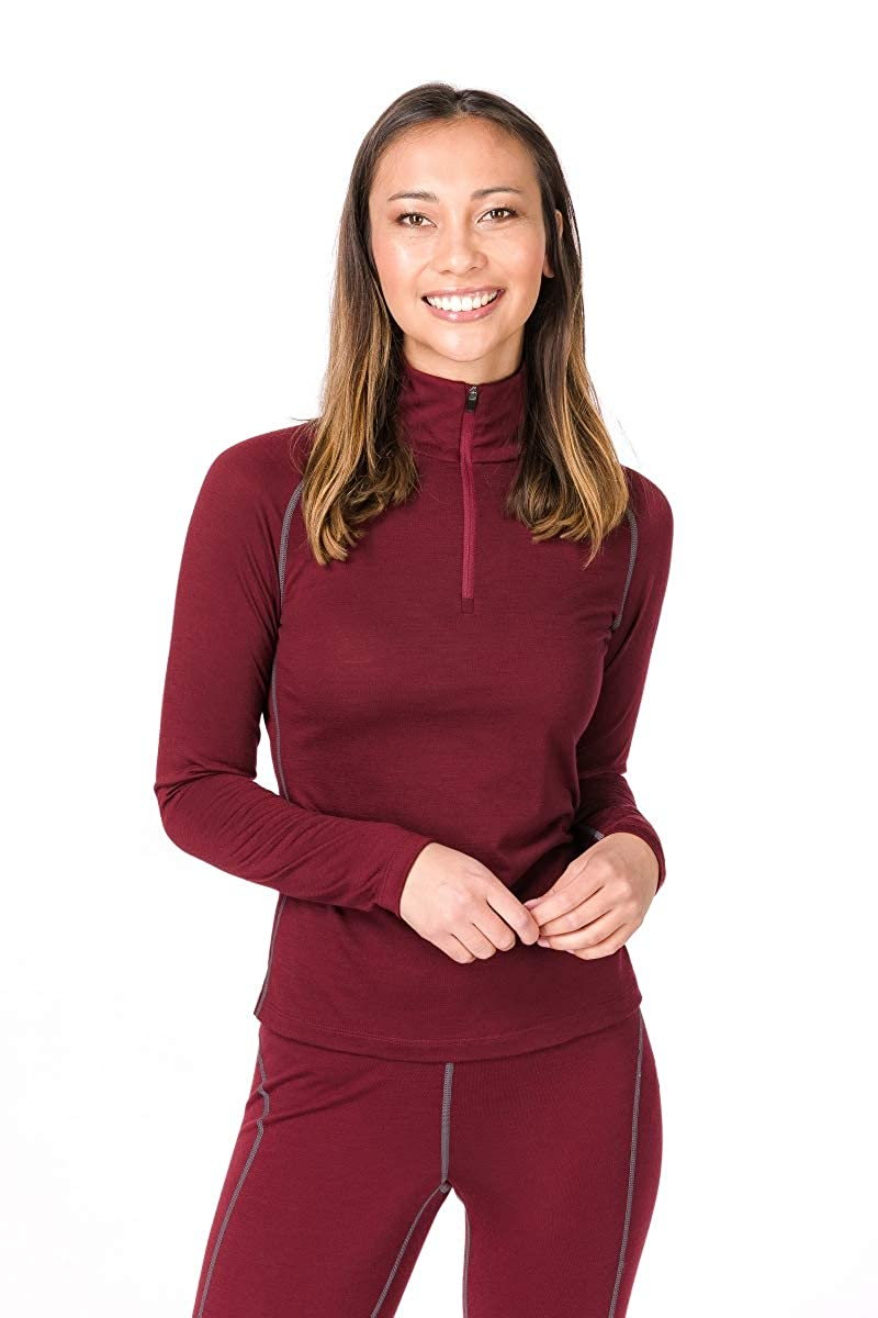 Pomegranate Quiet Shade L super. natural W Base 1 4 Zip 175 Women's Merino Functional Shirt Long Sleeves With High Neck