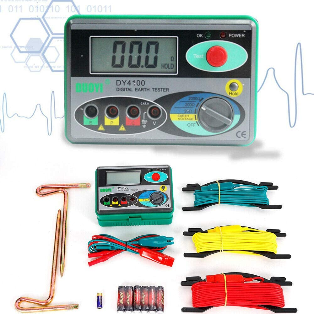 DY4100 Digital Earth Ground Resistance Tester Meter 0.01Ω Resolution Multimeter