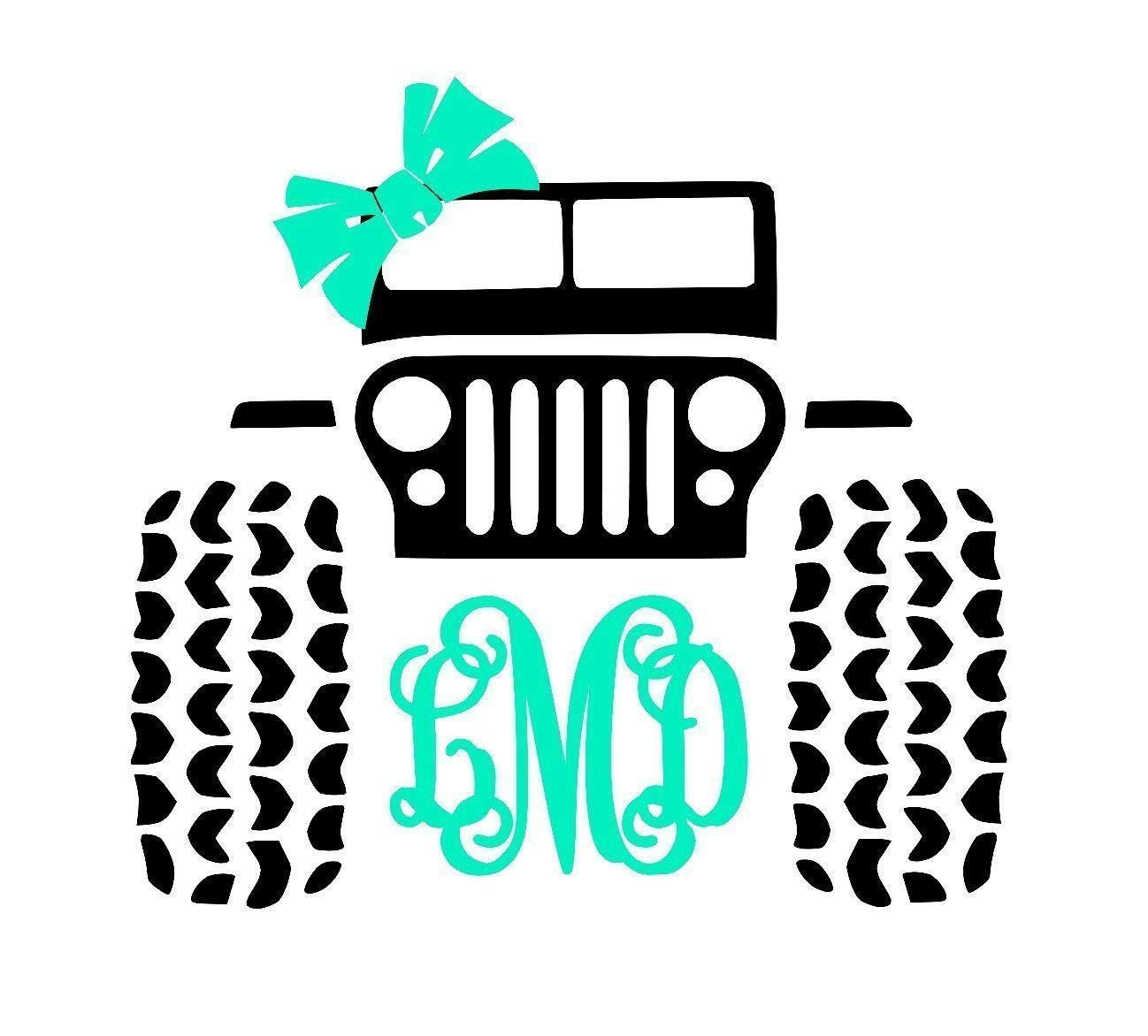 Custom jeep 4x4 monogram decal sticker bow crown for laptop locker car yeti cooler tumbler or cup