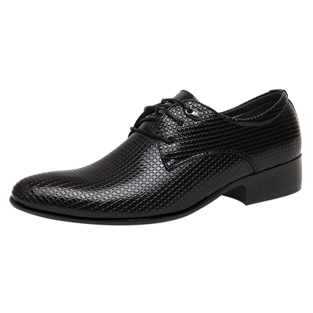 AHAYAKU Men Lace Business Leather Shoes Casual Comfortable Dress Shoe Male Suit Shoes Black by AHAYAKU