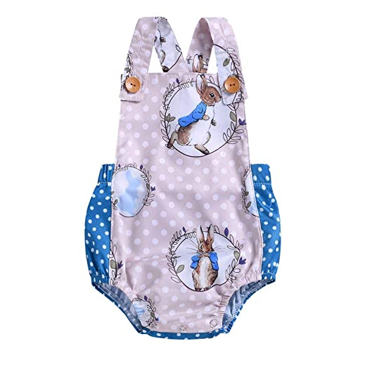 eac13fa1e Fashion Newborn Infant Baby Girl Clothes Cartoon Rabbit Dot Print Strap  Backless Jumpsuit Romper Bodysuit Outfits
