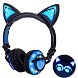 Qiwoo Kids Headphones with Cat Ear USB Rechargeable Adjustable LED Light Up Wired Over Ear Headphones 85dB Volume Limited Compatible for iPad Tablet for Easter Theme Party Favor (1-Black)