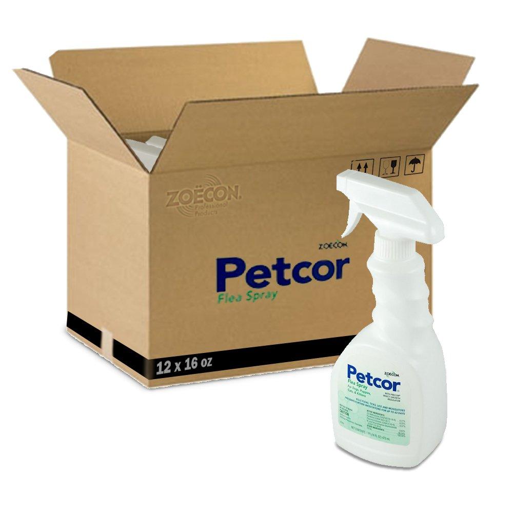 Petcor Flea and Tick Spray 1 Case (12) X 16 Oz Bottles