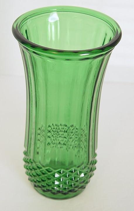 Amazon Vintage Emerald Green Hoosier Glass Ribbed Design Vase